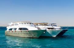 Hurgada,埃及- 2017年1月21日:三条游艇在红海 库存图片