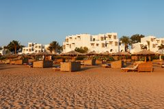Hurgada, Egypt - 14 August, 2014: Hotel beach and sea lonely in the morning Stock Photo