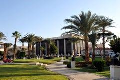 HURGHADA, ÄGYPTEN - 14. OKTOBER 2013: Schöne Palmen in einem tropischen Luxushotel auf den Ufern des Roten Meers Stockbilder
