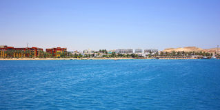 Hurghada coast. The picturesque coastline of Hurghada. Beach hotel, mountains, leisure tourists Stock Images