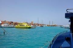 Hurghada Egipt, Maj, - 9,2015 Piękna architektura Hurghada Marina przy półmrokiem w Egipt Fotografia Stock
