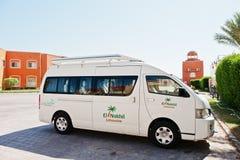 Hurghada, Egipto -20 agosto de 2016: Autobús del coche de la limusina del EL Nakhil en imágenes de archivo libres de regalías