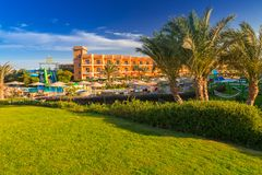 Tropical resort Three Corners Sunny Beach hotel. HURGHADA, EGYPT - APR 9, 2013: Tropical resort Three Corners Sunny Beach in Hurghada. Three Corners is Belgian Royalty Free Stock Photo
