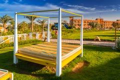 Tropical resort Three Corners Sunny Beach hotel. HURGHADA, EGYPT - APR 9, 2013: Tropical resort Three Corners Sunny Beach in Hurghada. Three Corners is Belgian Royalty Free Stock Photos