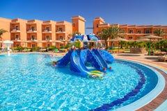 Tropical resort Three Corners Sunny Beach in Hurghada. HURGHADA, EGYPT - APR 13, 2013: Tropical resort Three Corners Sunny Beach in Hurghada. Three Corners is Stock Photography
