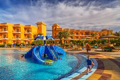 Tropical resort Three Corners Sunny Beach hotel. HURGHADA, EGYPT - APR 9, 2013: Tropical resort Three Corners Sunny Beach in Hurghada on 12 April 2013. Three Royalty Free Stock Image