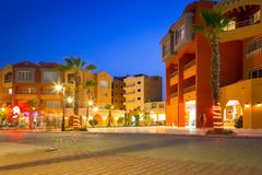 Architecture of modern harbor in Hurghada at dusk, Egypt Royalty Free Stock Photos