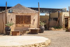 Architecture of small african village on the desert stock images