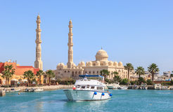 HURGHADA, EGYPT, APRIL 23, 2014: Mosque El Mina Masjid in Hurghada in sunny day, view from the sea Royalty Free Stock Photo