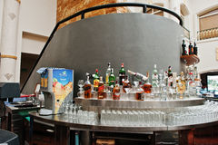 Hurghada, Egypt -20 August 2016: Reception lobby bar with variou. S alcohol drink in luxury hotel resort Caribbean World Soma Bay stock photos