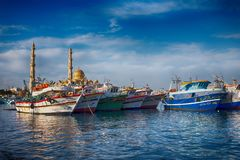 HURGHADA, EGYPT, December 27, 2017: Mosque El Mina Masjid in Hurghada in sunny day, view from the sea. Stock Image