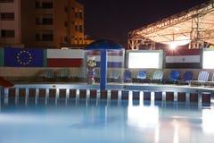 HURGHADA, EGYPT-DEKABR 20: Nachtansicht des sfinks Hotel territ Lizenzfreie Stockbilder