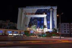 HURGHADA, EGYPT-DEKABR 20: Nachtansicht des terr Hotel Königs Tut Stockfotos