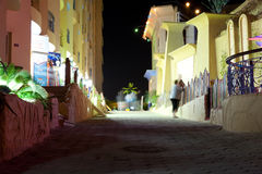 HURGHADA, EGYPT-DEKABR 20: night view of the sfinks hotel territ Royalty Free Stock Image