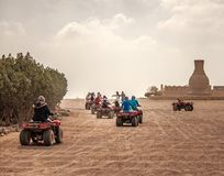 Hurghada, Egypt, February 2019. Safari in the desert near Hurghada. Excursion. Group. Safari in the desert near Hurghada. Excursion. Group royalty free stock photography