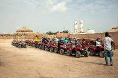 Hurghada, Egypt, February 2019. Safari in the desert near Hurghada. Excursion. Group. Safari in the desert near Hurghada. Excursion. Group stock photos