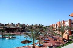 Hurghada, Egypt - May 9,2015. Beautiful tropical resort in Hurghada. Royalty Free Stock Images