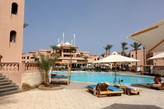 Hurghada, Egypt - May 9,2015. Beautiful tropical resort in Hurghada. Stock Image