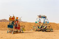 HURGHADA, EGYPT - MAY 18, 2015 Playground for children in the Bedouin village Royalty Free Stock Photography