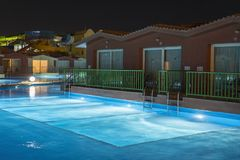 Hurghada, Egypt. November 19 2018 Hurghada, Egypt. November 19 2018 luxury resort with pool at night view. hotel outdoor landscape. With pool. Night pool side stock photo
