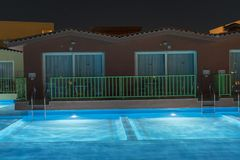 Hurghada, Egypt. November 19 2018 luxury resort with pool at night view. hotel outdoor landscape with pool. Night pool side of. Rich hotel stock photos