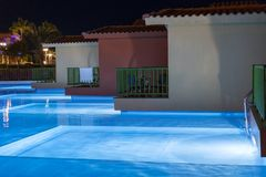 Hurghada, Egypt. November 19 2018 Hurghada, Egypt. November 19 2018 luxury resort with pool at night view. hotel outdoor landscape. With pool. Night pool side royalty free stock photography