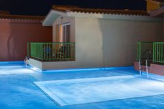 Hurghada, Egypt. November 19 2018 Hurghada, Egypt. November 19 2018 luxury resort with pool at night view. hotel outdoor landscape. With pool. Night pool side stock image