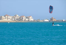 HURGHADA, EGYPT - NOVEMBER 13, 2008: Unfamiliar Sky surfer on th Stock Photos