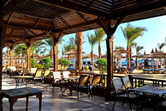 HURGHADA, EGYPT - OCTOBER 14, 2013:Tropical luxury resort hotel on Red Sea beach. Hurghada, Egypt. Stock Photo