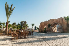 Hurghada, Egypt - October 9, 2016: View of the hotel grounds, a. Restaurant and an amphitheater Royalty Free Stock Photo