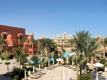 Hurghada resort. Egyptian architecture in red Sea resort Royalty Free Stock Photo