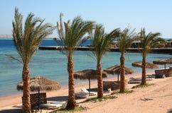 Hurghada rode overzees van het strand Royalty-vrije Stock Foto