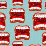 Hurle le modèle sans couture de lèvres fond d'appel Émotion agressive illustration stock
