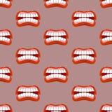 Hurle le modèle sans couture de lèvres Fond de crique emotio agressif illustration de vecteur