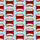 Hurle le modèle sans couture de lèvres fond de tollé emoti agressif illustration stock