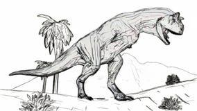 Hurlement de Carnosaur dans l'illustration du style 3d de croquis de jungle illustration libre de droits