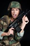 hurlement de soldat Photos libres de droits