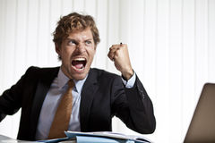Hurlement fâché d'homme d'affaires Photo libre de droits