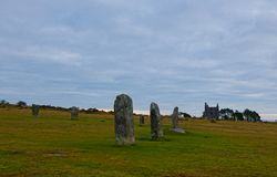 Hurlers standing stones. The Hurlers are Bronze Age standing stone circles from about 1500BC. They consist of 3setof stone circles. They are situated just stock image