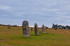 Hurlers standing stones. The Hurlers are Bronze Age standing stone circles from about 1500BC. They consist of 3setof stone circles. They are situated just stock photos