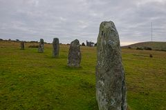 Hurlers standing stones. The Hurlers are Bronze Age standing stone circles from about 1500BC. They consist of 3setof stone circles. They are situated just royalty free stock photo