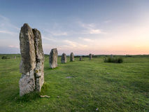 The Hurlers Stone Circle on Bodmin Moor. Evening at The Hurlers Stone Cirlce at Minions near Liskeard on Bodmin Moor in Cornwall Royalty Free Stock Photo