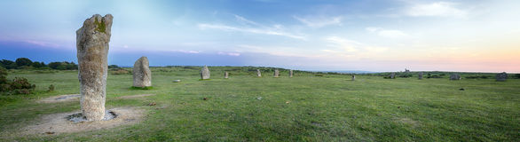 The Hurlers Stone Circle on Bodmin Moor. Sunset at The Hurlers Stone Cirlce at Minions near Liskeard on Bodmin Moor in Cornwall Royalty Free Stock Photo