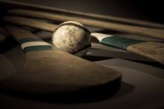 Hurling Ball Close Up. A studio shot of a hurling stick, ball close up Stock Photos
