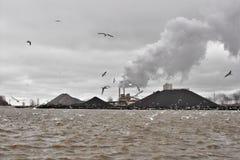 Huron, Ohio. Taconite iron ore stockpiles at the Lake Erie port of Huron, Ohio Stock Photos