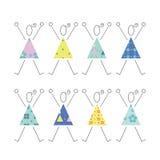 Hurra flickor i färgrik klänningillustration Arkivfoton