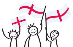 Hurra gruppen av lyckliga pinnediagram med engelska nationsflaggor som ler England supportrar, sportfans Arkivfoton