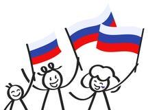 Hurra gruppen av tre lyckliga pinnediagram med ryska nationsflaggor som ler Ryssland supportrar, sportfans Arkivfoto
