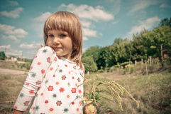 Hurrah. Little girl exclaims something, she understanded something Royalty Free Stock Photography