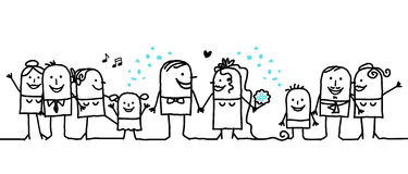 Hurrah for the newly-weds !. Vector hand-drawn characters line vector illustration